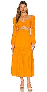 Dora Poplin Cutout Long Sleeve Midi Dress