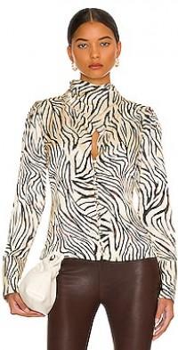 Doris Cross Neck Keyhole Long Sleeve Blouse