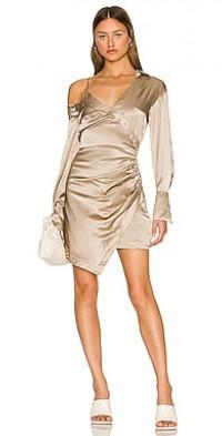 Eliana Layered Asymmetric Drop Shoulder Mini Dress