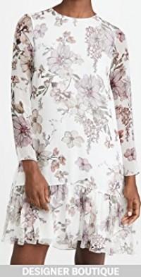 Dress with Ruffle Hem In Printed Chiffon
