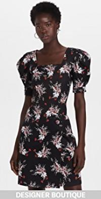 Puff Sleeve Mini Dress in Printed Cotton Twill