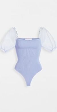 Darling Sheer Puff Sleeve Thong Bodysuit