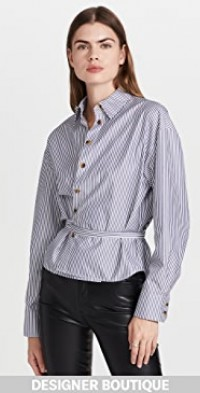 Cropped Belted Wrap Shirt