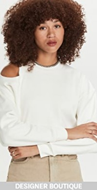 Cropped Sweatshirt with Shoulder Cut Out