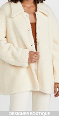 Faux Shearling Rounded Snap Button Jacket