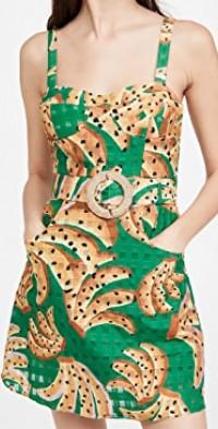 Green Raining Bananas Mini Dress