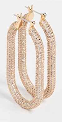 Pave Amber Hoops