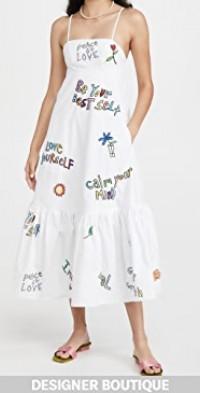Wellness Print & Embroidered Dress