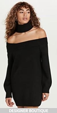 Off The Shoulder Turtleneck Knit Dress