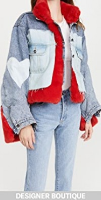 Red Faux Fur Raw Denim Jacket