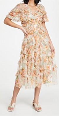 Sunset Garden V Neck Ballerina Dress