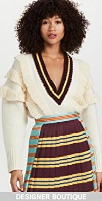 Extra-fine Merino Wool Ruffle Knit Sweater