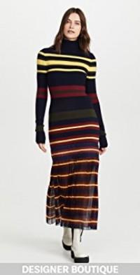 Extrafine Merino Wool Striped Sweater Dress