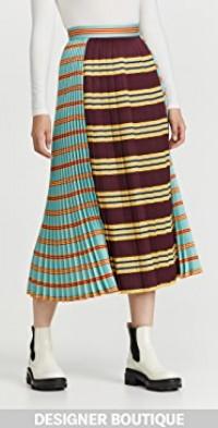Gabardine Pleated Midi Skirt