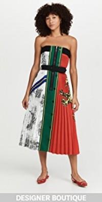 Light Printed Gabardine Strapless Midi Dress