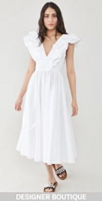 Poplin Dress with Ruffle Neckline