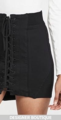 Power Stretch Denim Lace Up Miniskirt