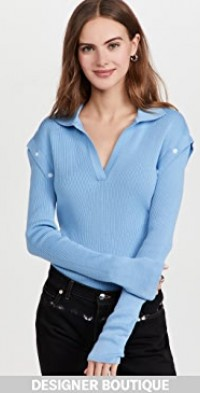 Blue Detachable Sleeves Knit Top