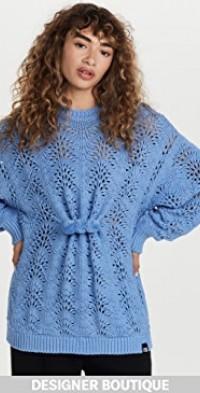 Blue Pom Pom Broche Knit Sweater