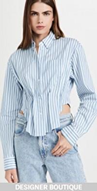 Stripe Cinched Waist Shirt