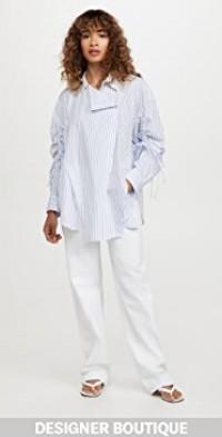 Striped Shirring Sleeved Shirt