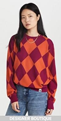 Violet Argyle Knit Sweater