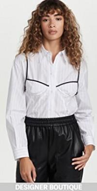 White Bra Detail Back String Shirt