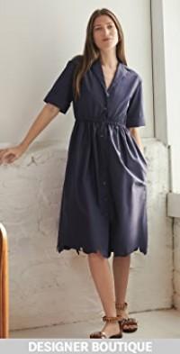 Jane Scalloped Shirt Dress