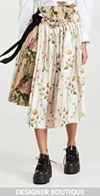 Pleated Midi Skirt with Gathered Front