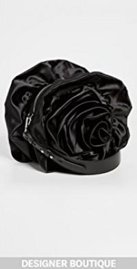 Ruched Rose Flower Crossbody Bag