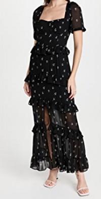 Cici Bustier Tiered Maxi Dress
