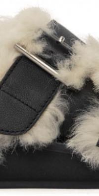 AMBUSH Black Fur Flat Sandals
