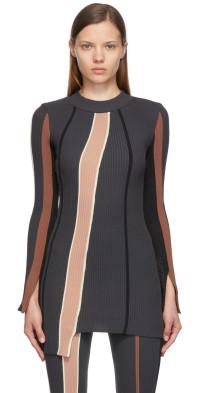 AMBUSH Grey Ribbed Striped Dress