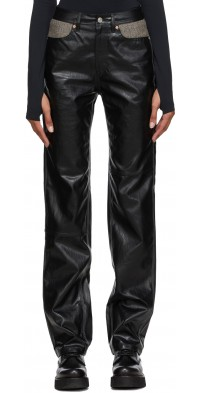 Andersson Bell Black Faux-Leather Mabel Carpenter Pants