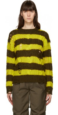 Andersson Bell Brown & Green Destroyed Cable Sweater