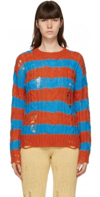 Andersson Bell Orange & Blue Destroyed Stripe Cable Sweater