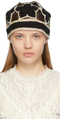 Anna Sui Black Crochet Star Beanie