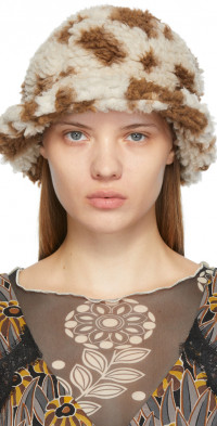 Anna Sui Brown & Off-White Faux-Shearling Bucket Hat