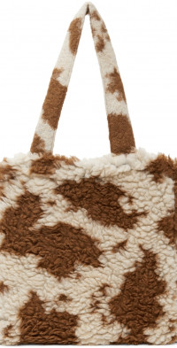 Anna Sui Brown & Off-White Faux-Shearling Tote