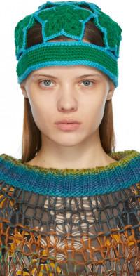 Anna Sui Green Crochet Star Beanie