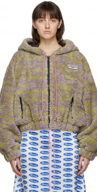 Ashley Williams Green & Purple Fleece Zip-Up