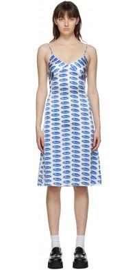 Ashley Williams White & Blue Silk 'Bored' Slip Dress