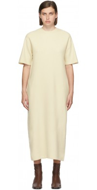 AURALEE Beige Felted Wool Half Sleeve Long Dress
