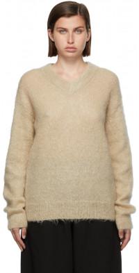 AURALEE Beige Mohair V-Neck Sweater