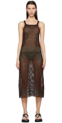 AURALEE Brown & Green Super Hard Twist Mesh Dress