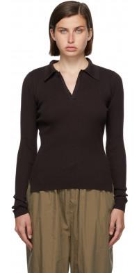 AURALEE Brown Rib Knit Giza Long Sleeve Polo
