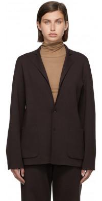AURALEE Brown Super High Gauge Knit Blazer
