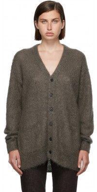 AURALEE Grey Mohair Knit Cardigan