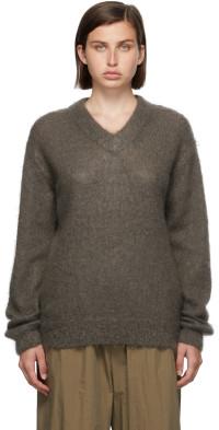 AURALEE Grey Mohair V-Neck Sweater