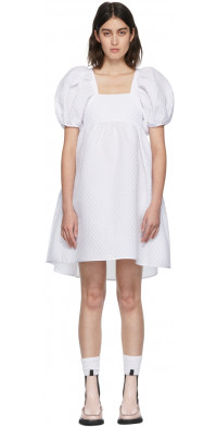 Cecilie Bahnsen White Matelassé Tilde Blossom Dress